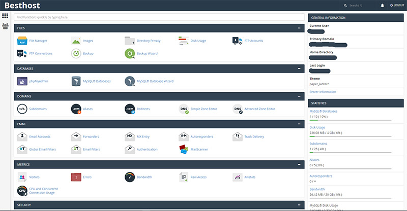 Paper Lantern theme for cpanel
